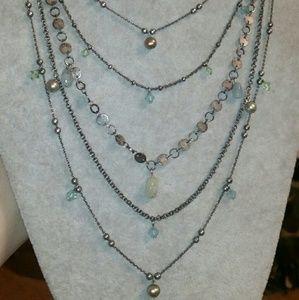 Liz Palacios Gun Metal, Multi-Chain & Gem Necklace